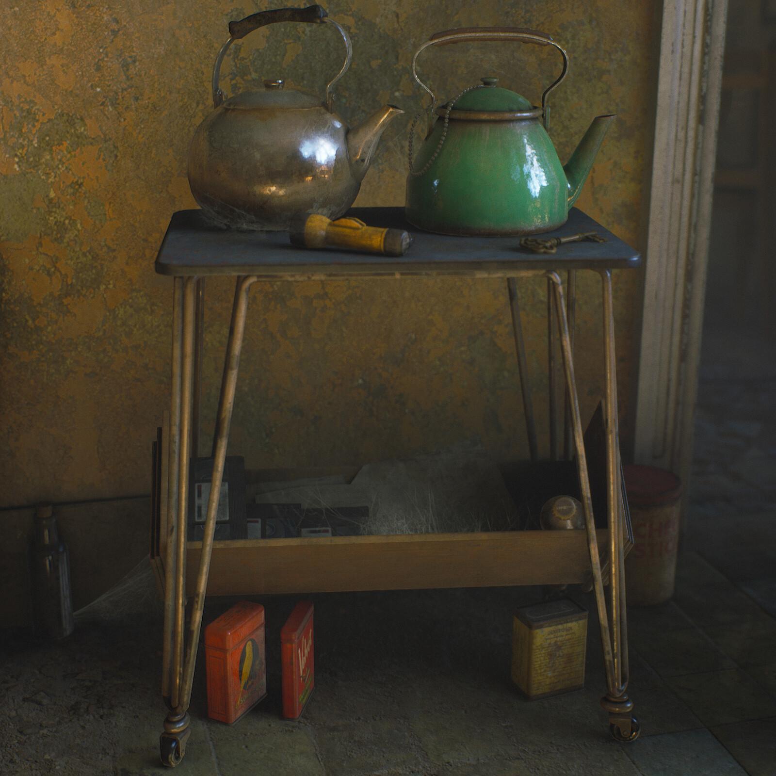 Vintage Kettles & Table - game assets