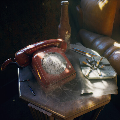 Telephone, Table & Ashtray - game assets