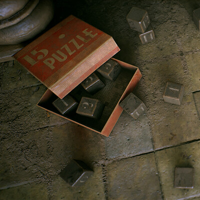 1950's Vintage Puzzle Box - game asset