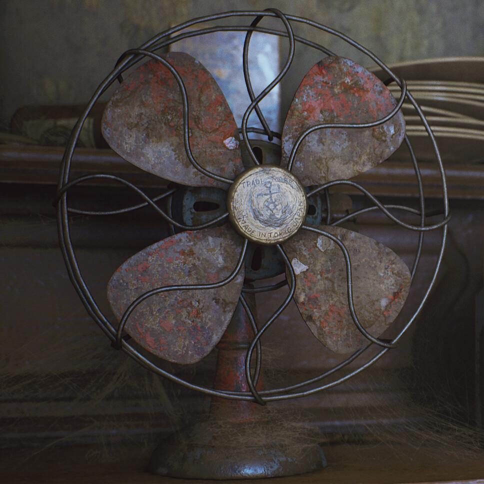 Vintage rusty fan - game asset
