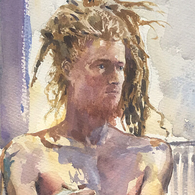 Long Pose Life Drawing Watercolour Painting of Liam