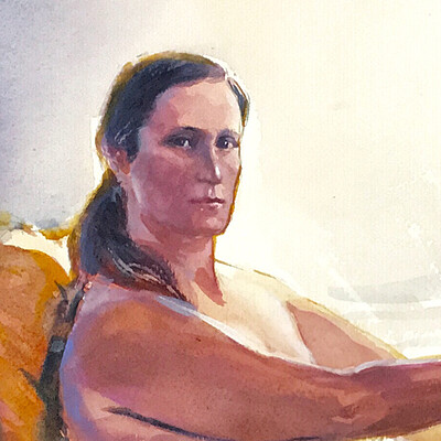 Long Pose Life Drawing Watercolour Painting of Catherine