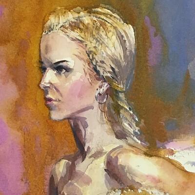 Long Pose Life Drawing Watercolour Painting of Bella #2