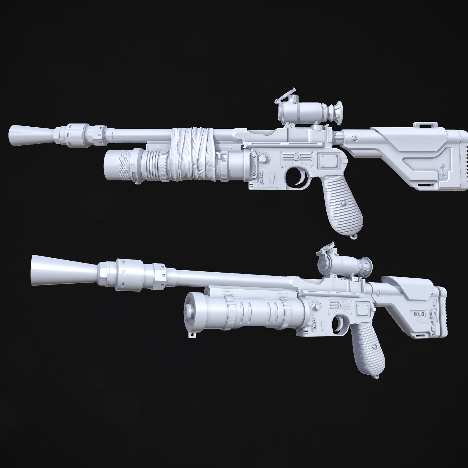 Blaster and Rifle weapon set - Highpoly model