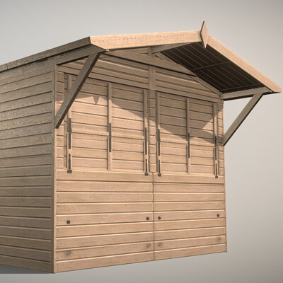 Dennis haupt market stall 15 mid poly version modeled textured and animated by 3dhaupt in blender 2 81