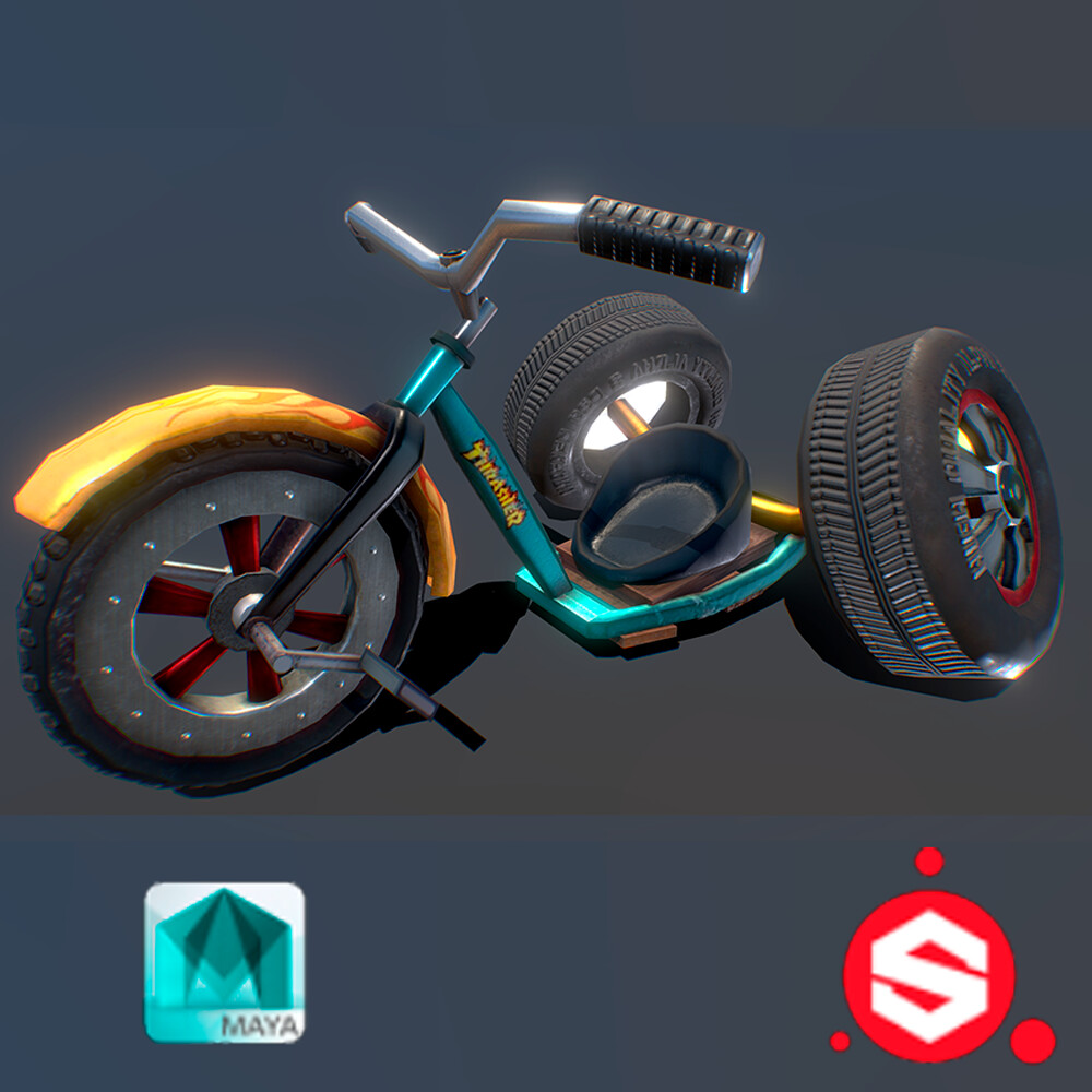 Stylized Mod Tricycle - 3D asset
