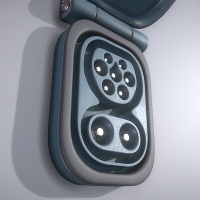 Dennis haupt charging connector slot type 2 modeld and textured by 3dhaupt in blender 2 80 8