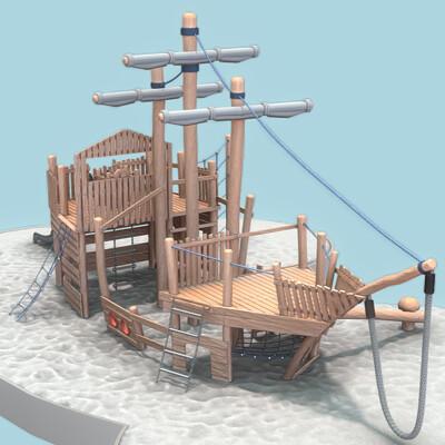 Dennis haupt vorschau playground wood ship final version modeled and textured by 3dhaupt in blender 2 8