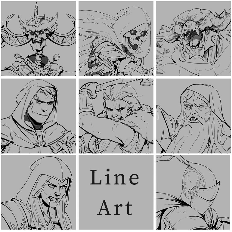 Line art Character and Monster Sketches