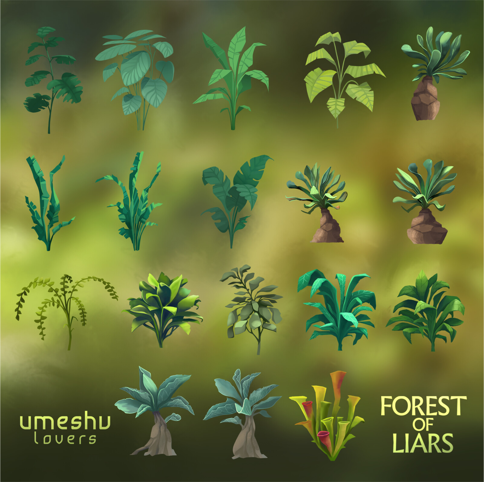 Vegetation assets for Forest of Liars by Umeshu Lovers