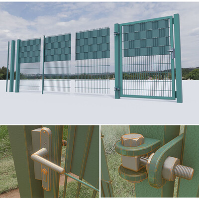 Dennis haupt 3dhaupt modular fence and door construction set modeled textured and animated in blender 2 81