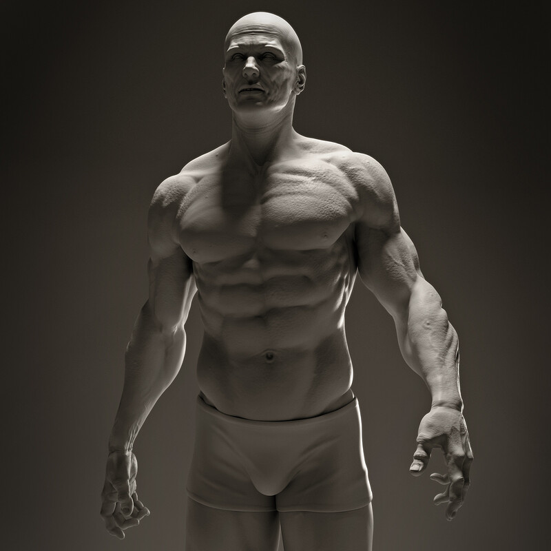 Male-base mesh pre-render