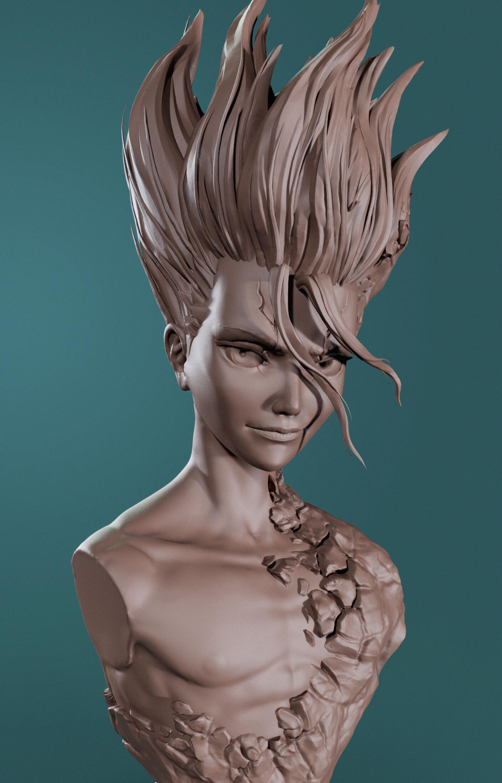Senku | Dr Stone | Zbrush sculpt