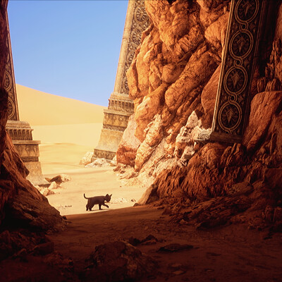 The black cat adventure - UE4 Lighting study - Desert ruins