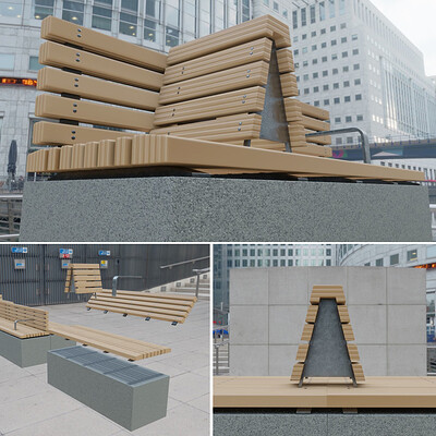 Dennis haupt modular park bench modeled textured and animated by 3dhaupt in blender 2 81a