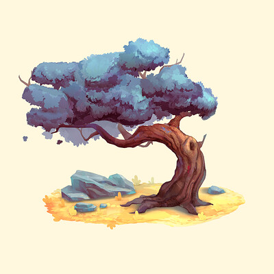 2.5D Handpainted stylized tree