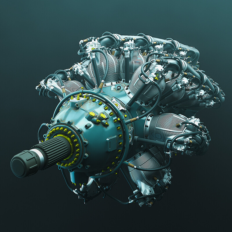 Aircraft engine: EEVEE Render