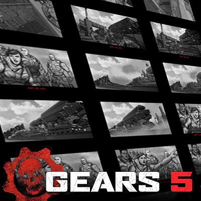 Gears of War 5 Cinematic Storyboards: UIR Desert Skiff sequence