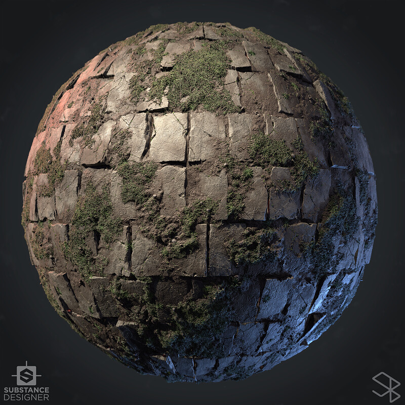 Unkempt Flagstones with Mud and Grass - 100% Substance Designer