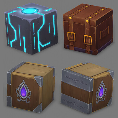 Stylized Hand Painted Cubes