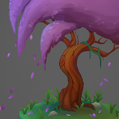 Stylized 2.5D Cherry Blossom Tree