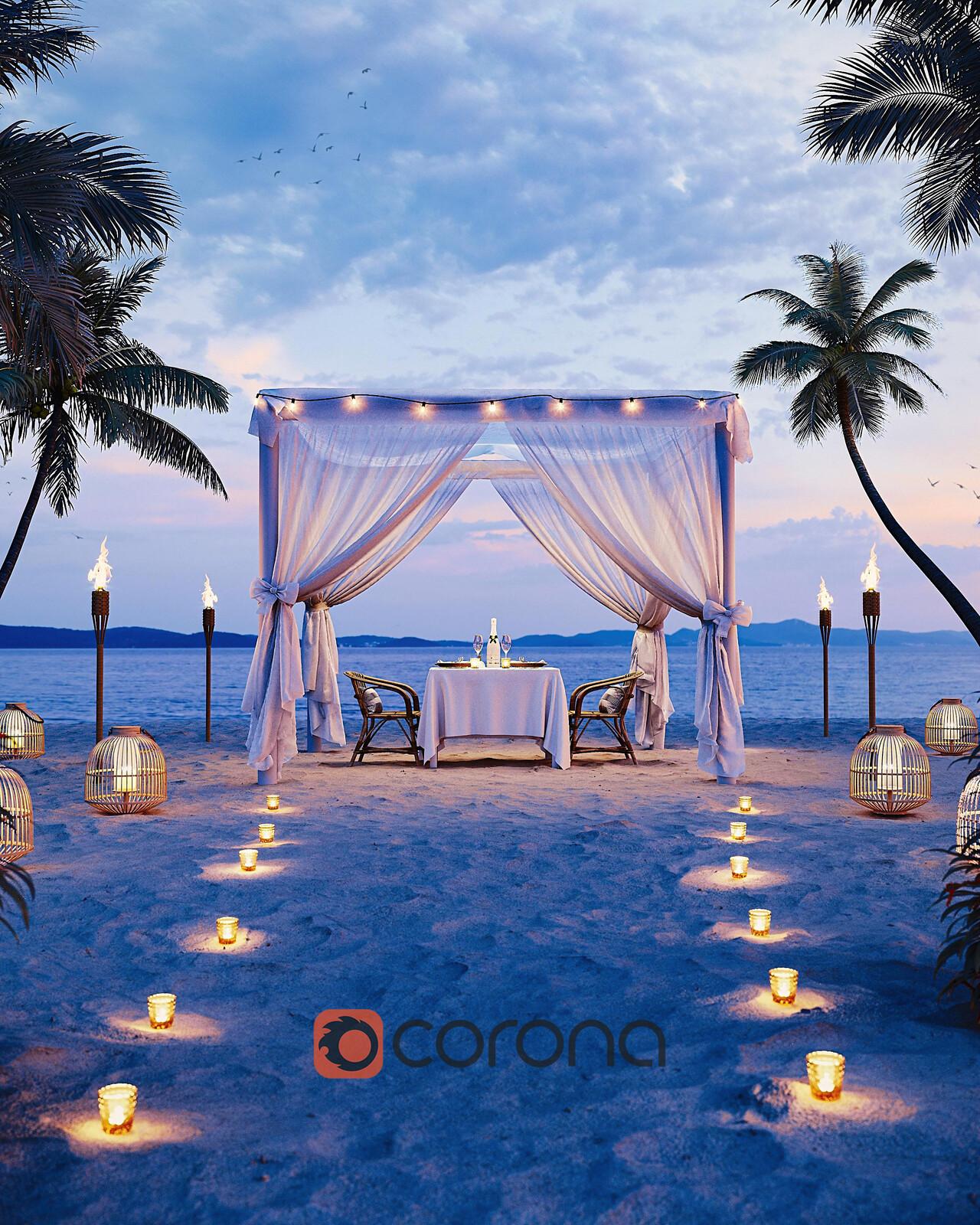 Dinner on the beach - Corona Render