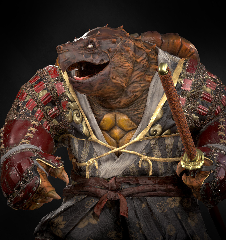 Artstation Tortle Samurai Real Time Character Mason Rhoades