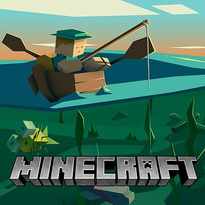 Fisherman Minecraft Illustration