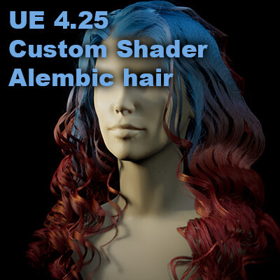 Unreal Engine 4.25. Custom Alembic Hair Shader Test.