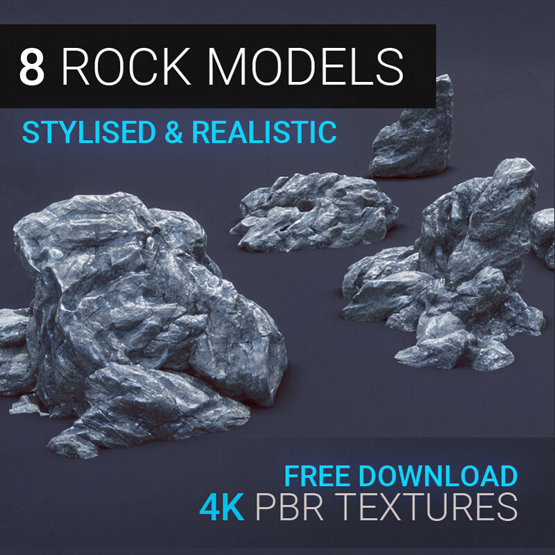 FREE 8 PBR Rocks in 2 styles: Stylised  & Realistic | Unity & Unreal | Free Download