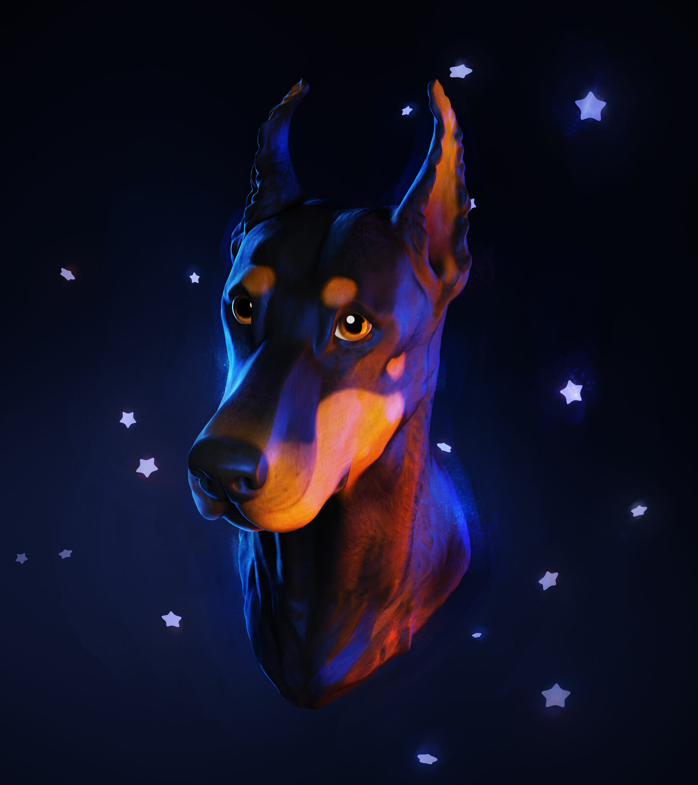 Doberman Bust • 3D ZBrush Sculpture & Digital Painting