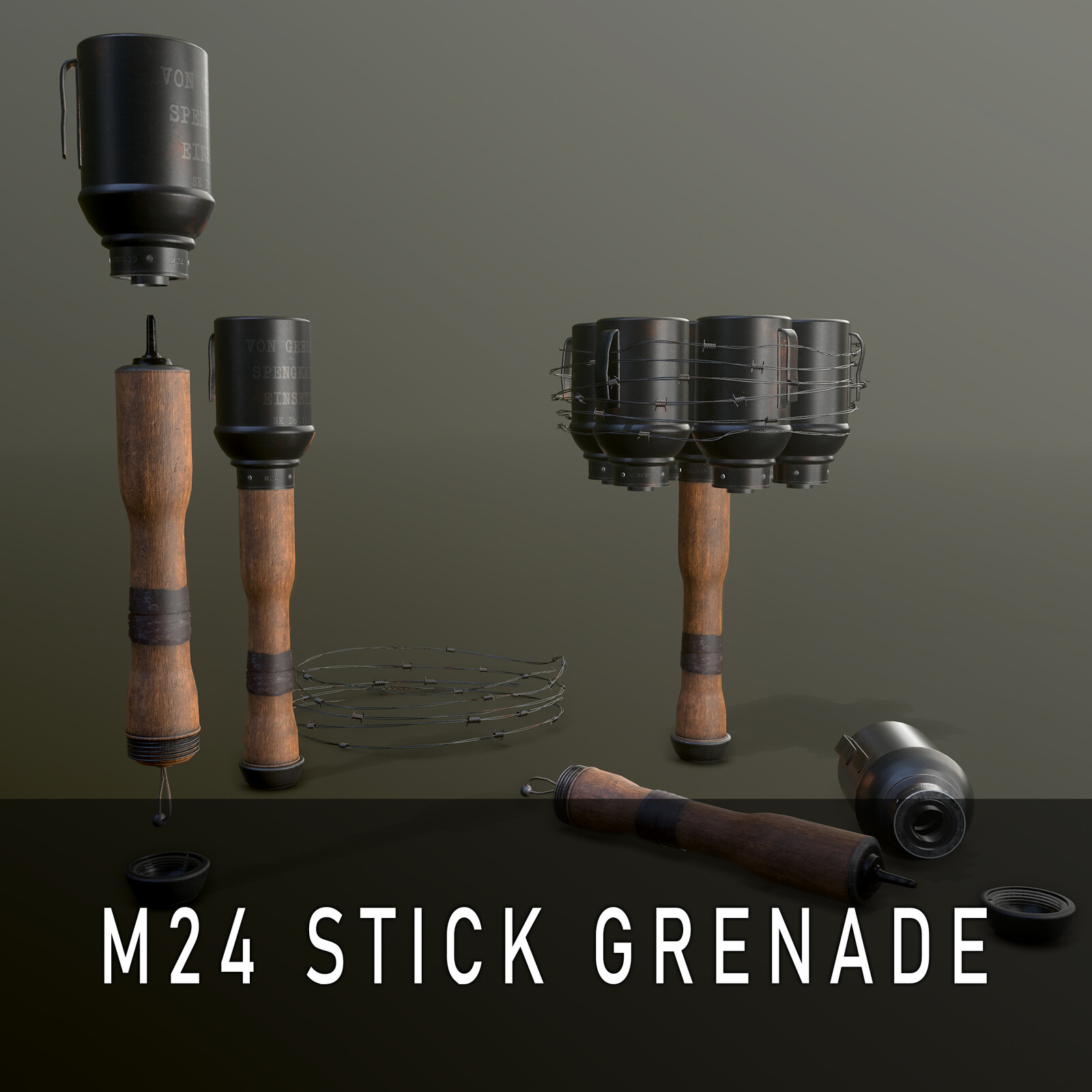 WWII German Stielhandgranate / Stick Grenade Model 1924 (M24) Anti-tank Bundle
