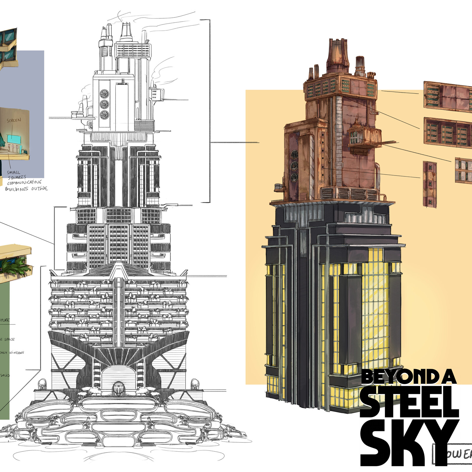 BEYOND A STEEL SKY: Union City Towers and paths_03