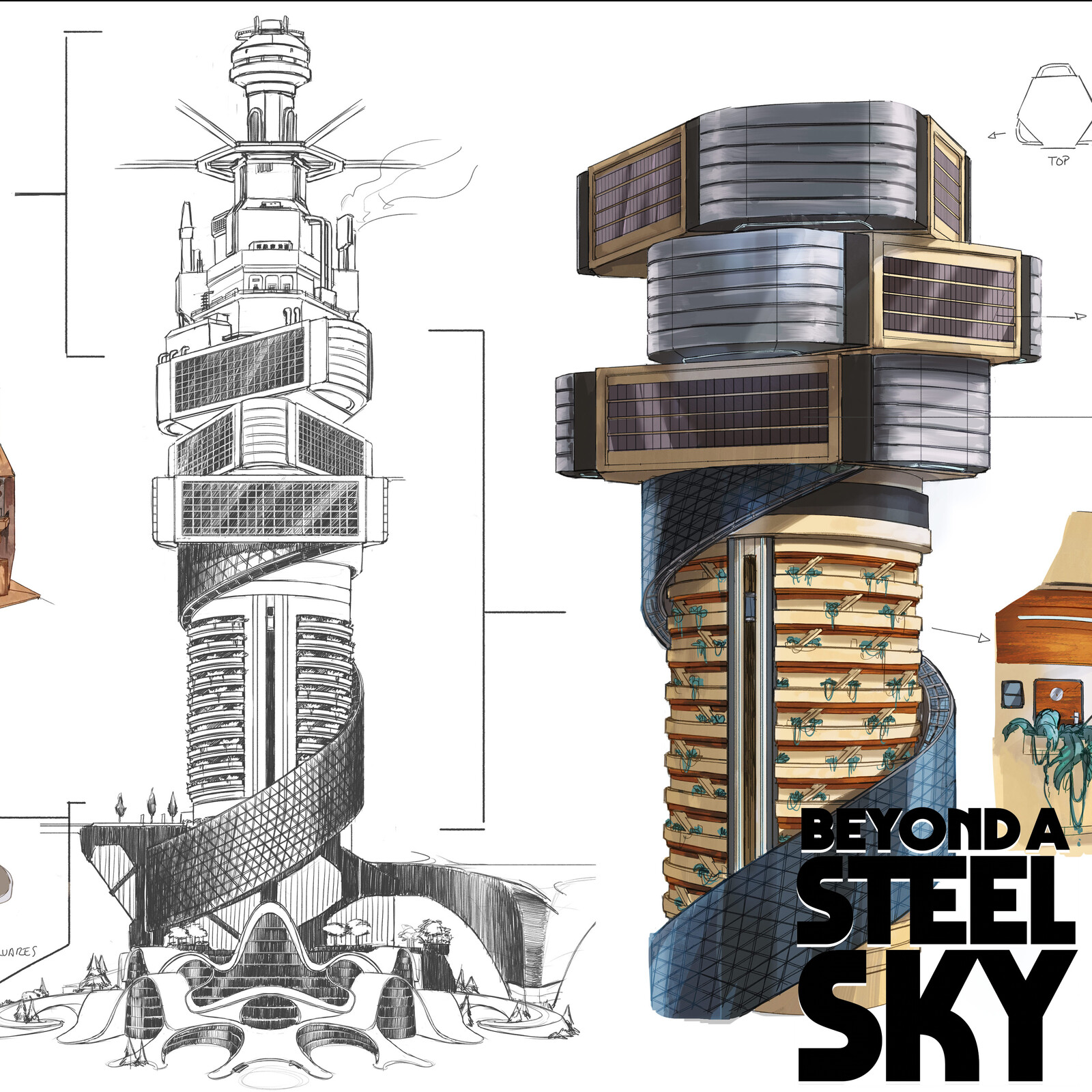 BEYOND A STEEL SKY: Union City Towers and paths_04