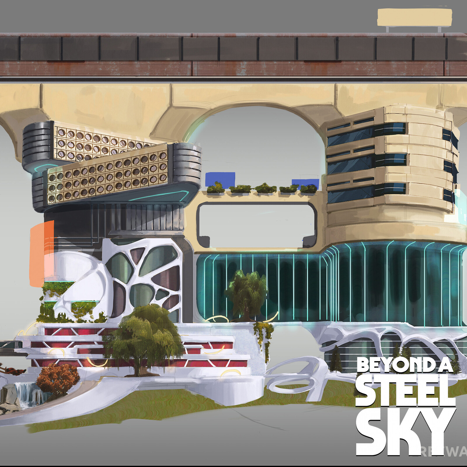 BEYOND A STEEL SKY: Union City bridges and city props
