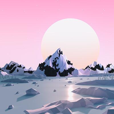 David zuren david zuren lowpoly snowmountains002