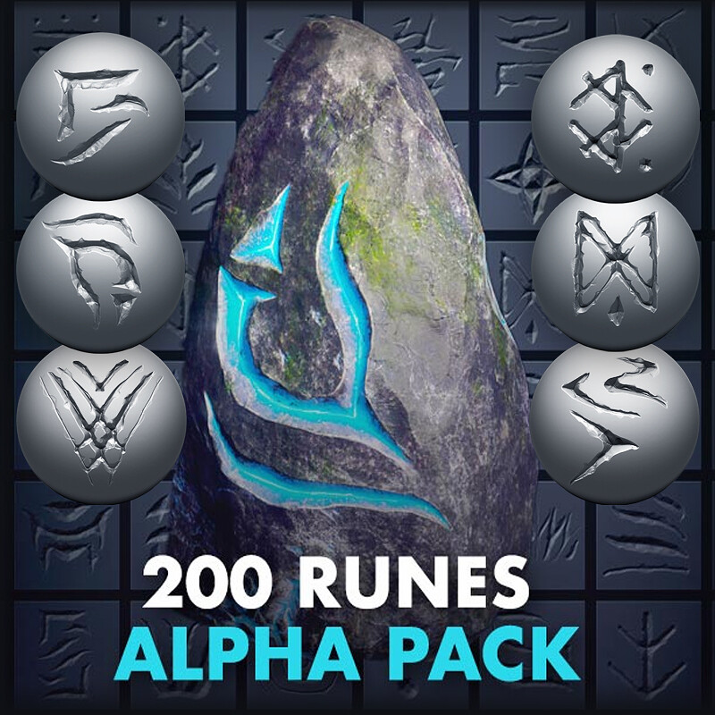 VOL.1 - 200 Runes / Symbols / Signs / Shapes | Zbrush, Blender ALPHA TEXTURES and more....