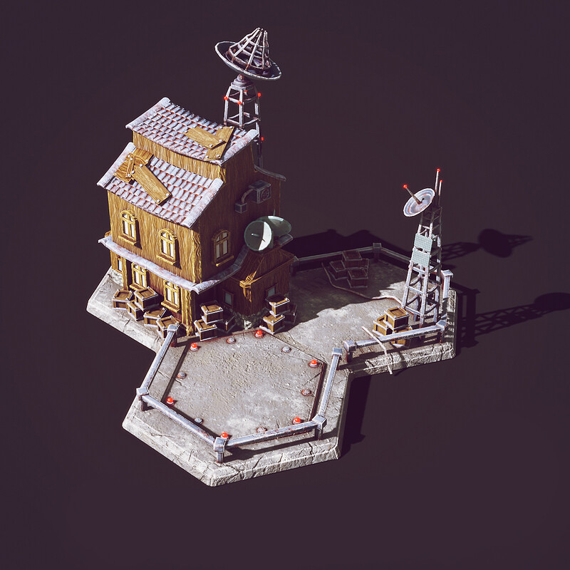 Landing Pad Building - 3d Low poly