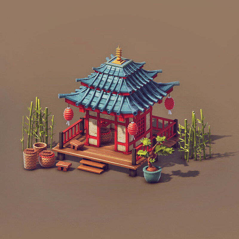 Asian Low Poly Buildings  - 3d Game Assets renderd in Unity 5 (3d Game Buildings)