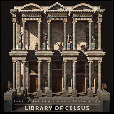 Library of Celsus Low Poly - PBR 3D Model