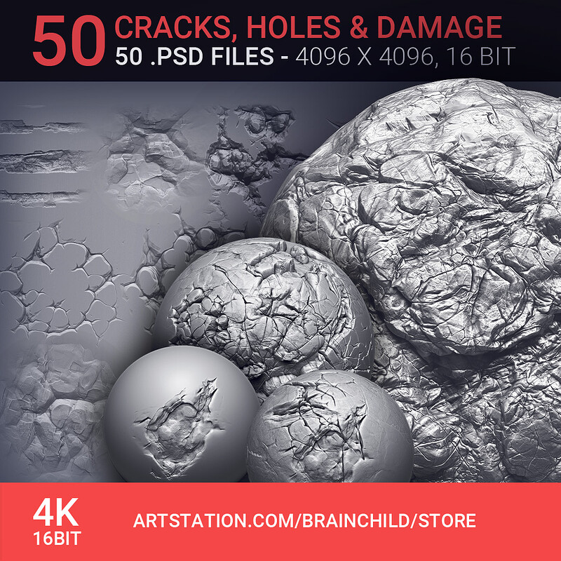 VOL. 2 - 50 Damage, Cracks, Holes | 50 Alpha Pack | 50 Alpha Textures |  Zbrush, Blender & Substance