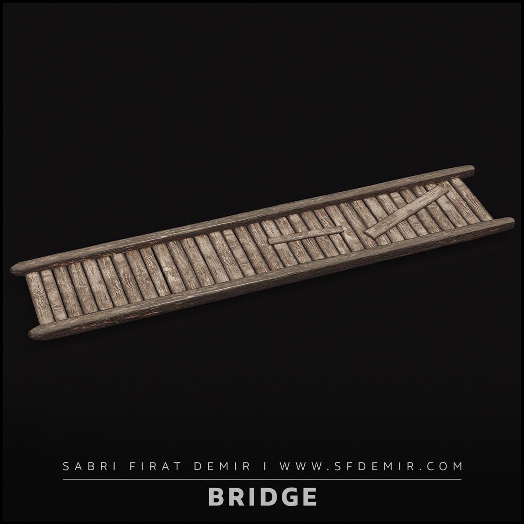 Medieval Wooden Bridge 3D Model