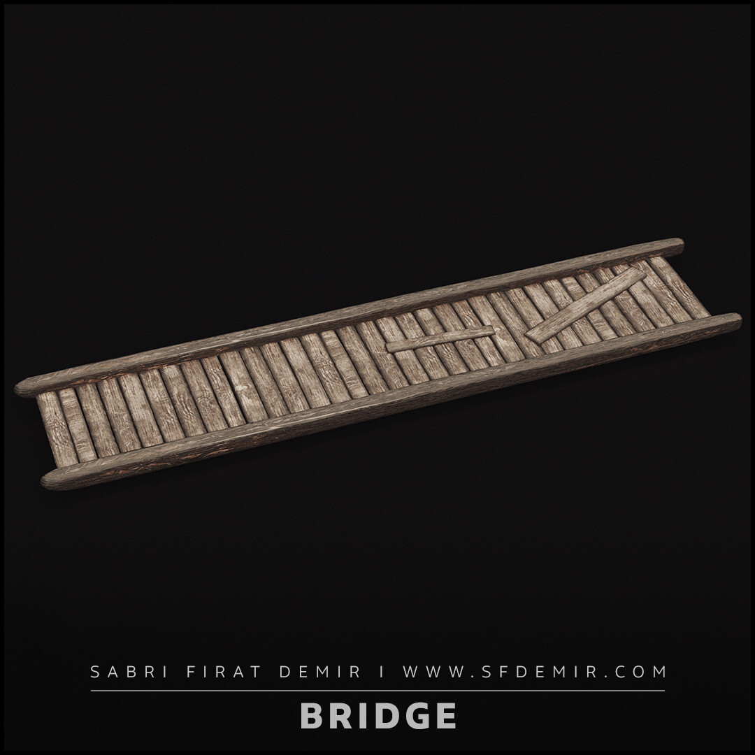 Medieval Wooden Bridge 3D Model