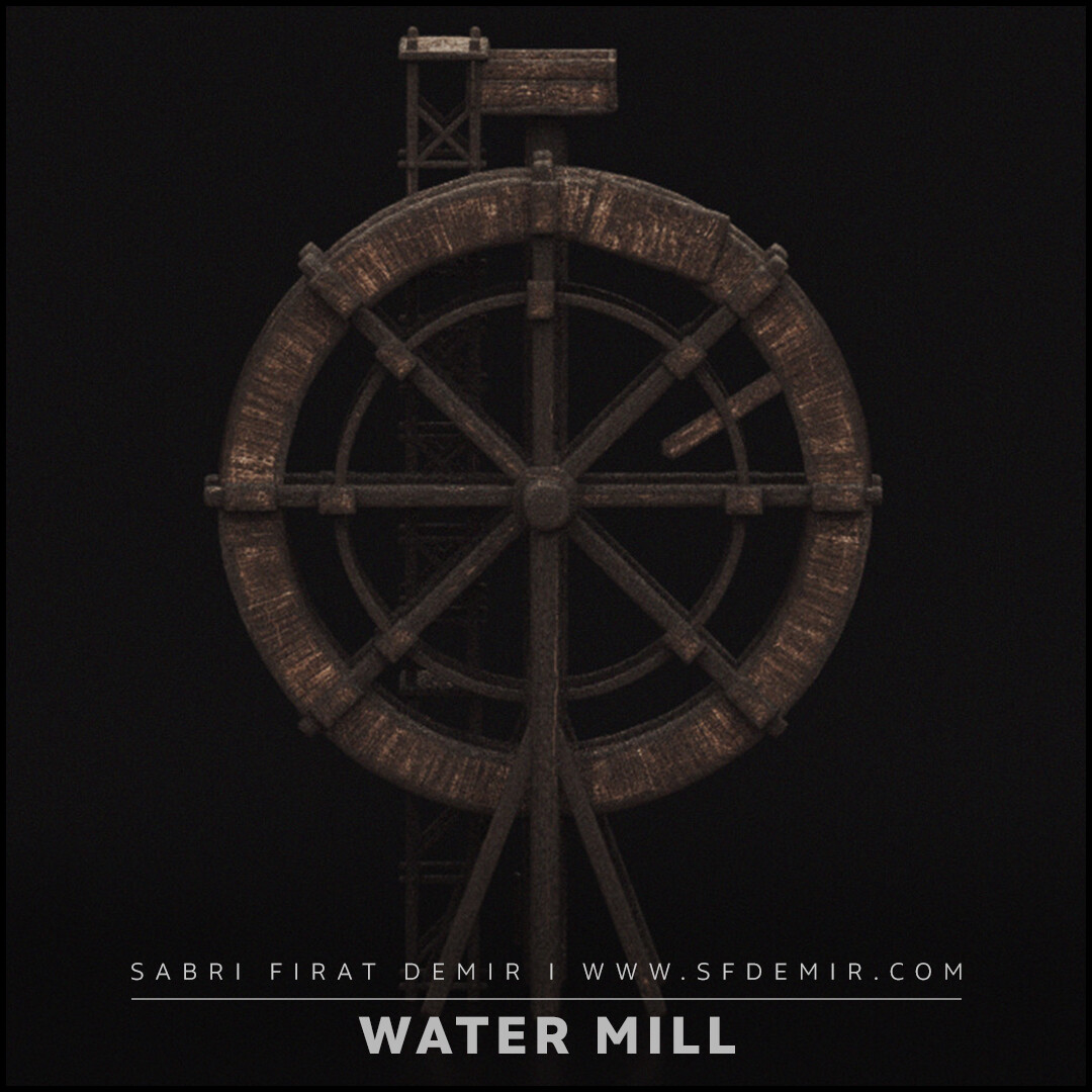 Medieval Wooden Water Mill 3D Model