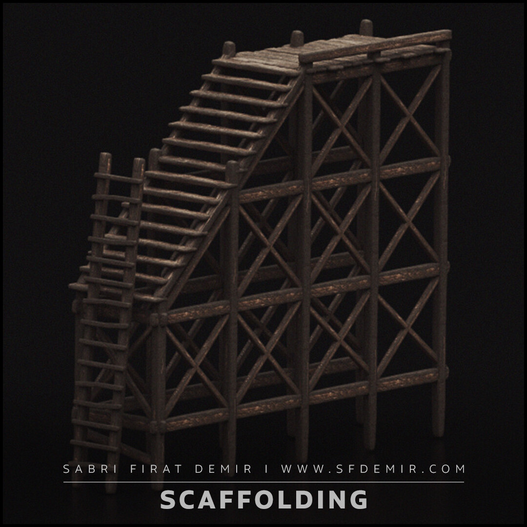 Medieval Wooden Scaffolding 3D Model