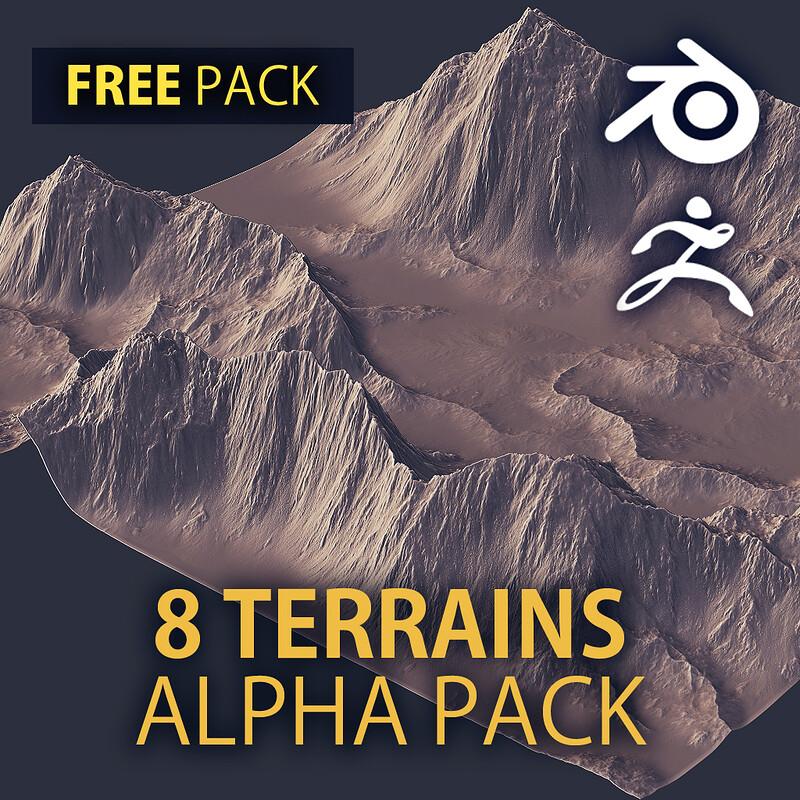 FREE - 8 Terrain Alpha Textures | Terrain Height Maps | 4k, 16bit