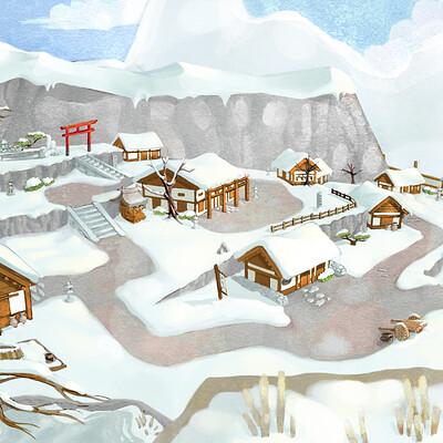 Snowy Village Environment Concept