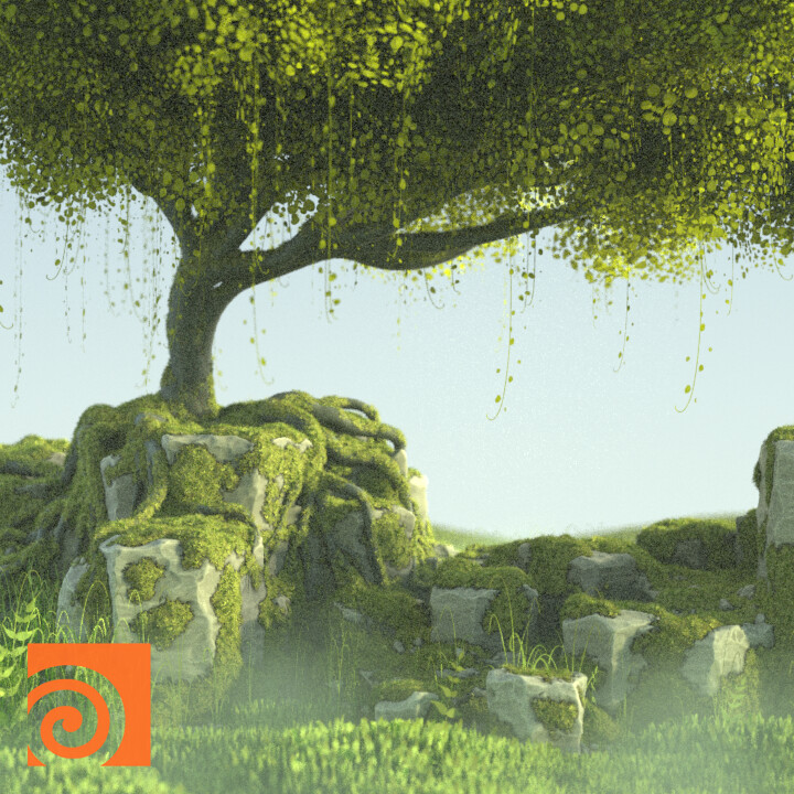 Houdini Procedural Mossy Rocks and Trees