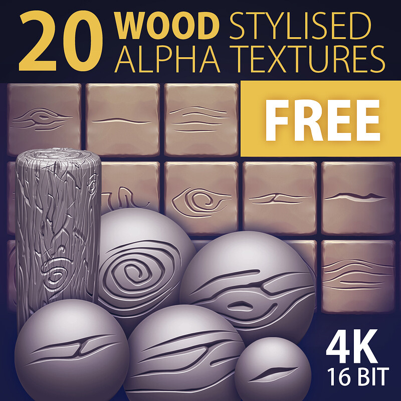FREE | 20 Wood STYLISED Alpha Textures - 4k, 16bit | © www.brainchild.pl