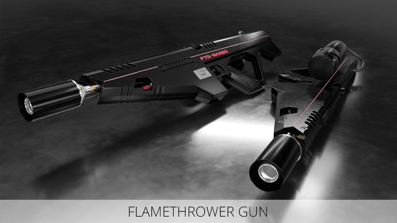 Flamethrower Gun - Cinema 4D + Octane